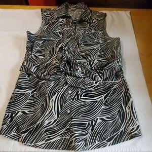 ANNE KLEIN Sleeveless Zebra Print Shirt Dress XL